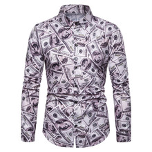 PADEGAO Brand 2019 new fashion hip hop men long sleeve shirts high printing dollar banknote blouse party club man tops