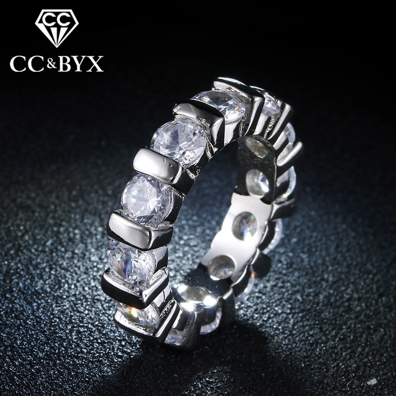 White gold color fashion rings for women engagement party ring bague zirconia vintage jewelry bijoux Anel feminino CC051