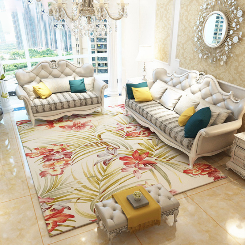 Luxe moderne grand rectangle fleurs tapis machine européenne polyester décoration de la maison tapis de sol pour salon 200 cm
