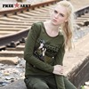 Brand Women Tops And Tees Long Sleeve Flocking Print T Shirts Women Camouflage Fashion Graphic Tees