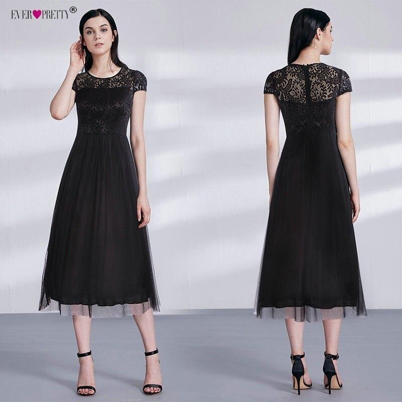 2018 Cocktail Dresses Ever Pretty Black Lace Short Sleeve Tea-Length Cap Sleeve Vestidos De Coctel Elegantes Party Dresses
