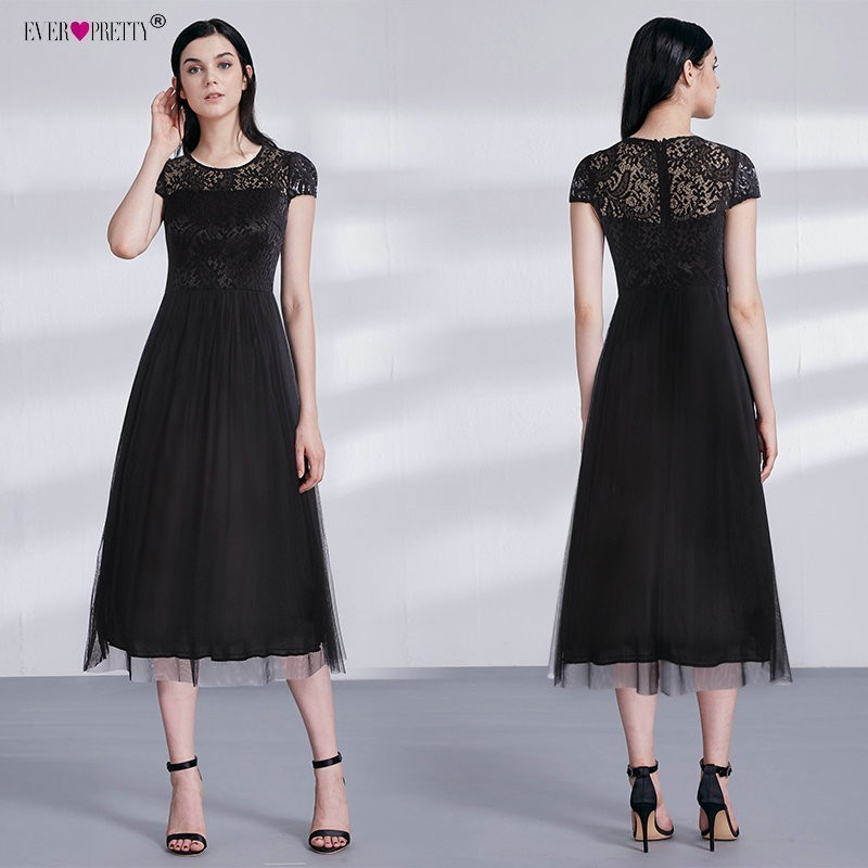2018   Cocktail     Dresses   Ever Pretty Black Lace Short Sleeve Tea-Length Cap Sleeve Vestidos De Coctel Elegantes Party   Dresses
