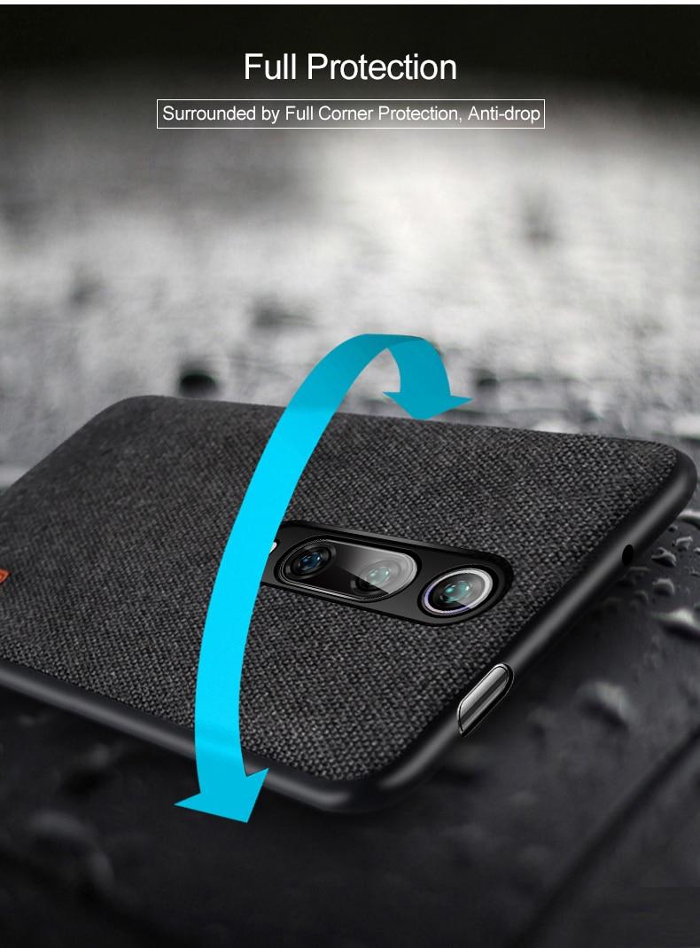 Capinha capa case telefone Para xiaomi mi 9t caso capa de pano tecido mofi original mi9t pro capa dura protetora silicone à prova de choque volta caso