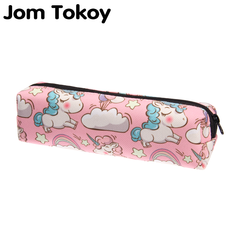Jom Tokoy 3D Print Cosmetic Bag Fashionable Women Cartoon Unicorn Makeup Bag Stationery Pouch Kids School Pencil Bag
