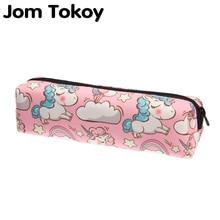 Jom tokoy 3D Print Cosmetic Bag Fashionable Women Cartoon unicorn Makeup Bag Stationery Pouch Kids School Pencil Bag jom tokoy 2018 3d printing unicorn cosmetic bag fashion women brand makeup bags