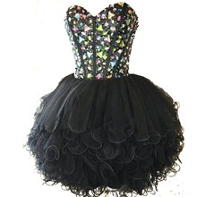 Black Homecoming Dresses Hot Sale Sweetheart Beaded With Crystals A Line Tulle Ruffles Short Party Gowns Vestido De Festa Curto