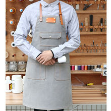 Canvas Bib Apron Cowhide Leather Strap Barber Hairdresser Florist Gardener Work Wear Barista Bartender Bakery Chef Uniform K1
