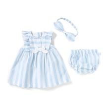 Summer Thin New Born Baby Girls Clothing Suit 6M-3T Sleeveless Princess Dress + Shorts Headband