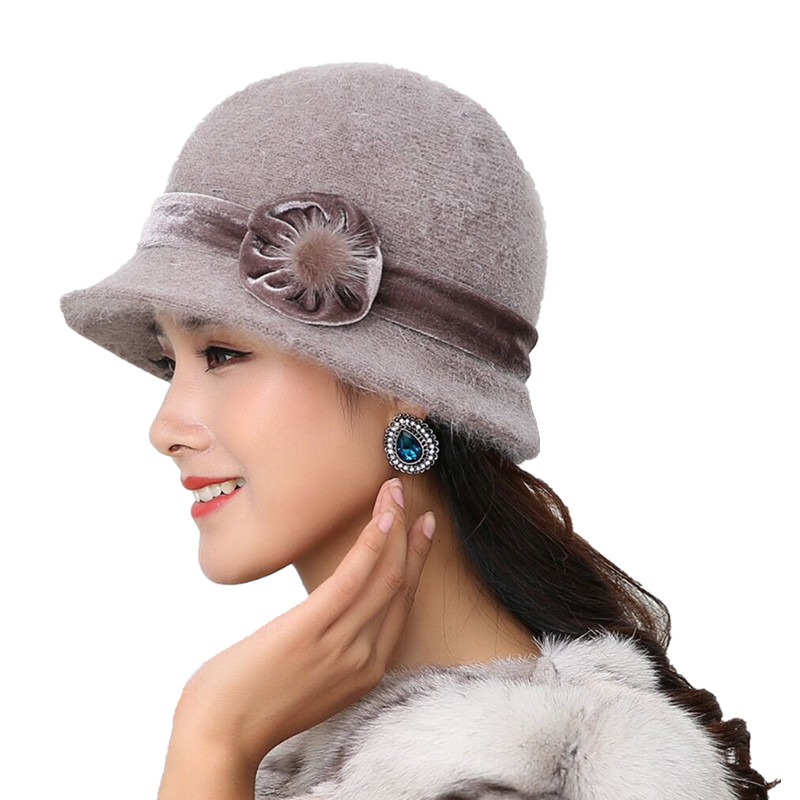 20 Style Hot Sell Winter Women Knitted Floral Skullies Super Soft Wool Mix Rabbit Fur Hat Warm Beanies Female Baggy Headwear Cap