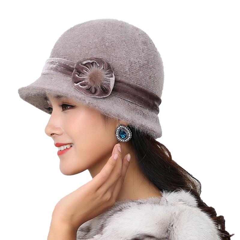 20 style Hot Sell Winter Women Knitted Floral   Skullies   Super Soft Wool Mix Rabbit Fur Hat Warm   Beanies   Female Baggy Headwear Cap