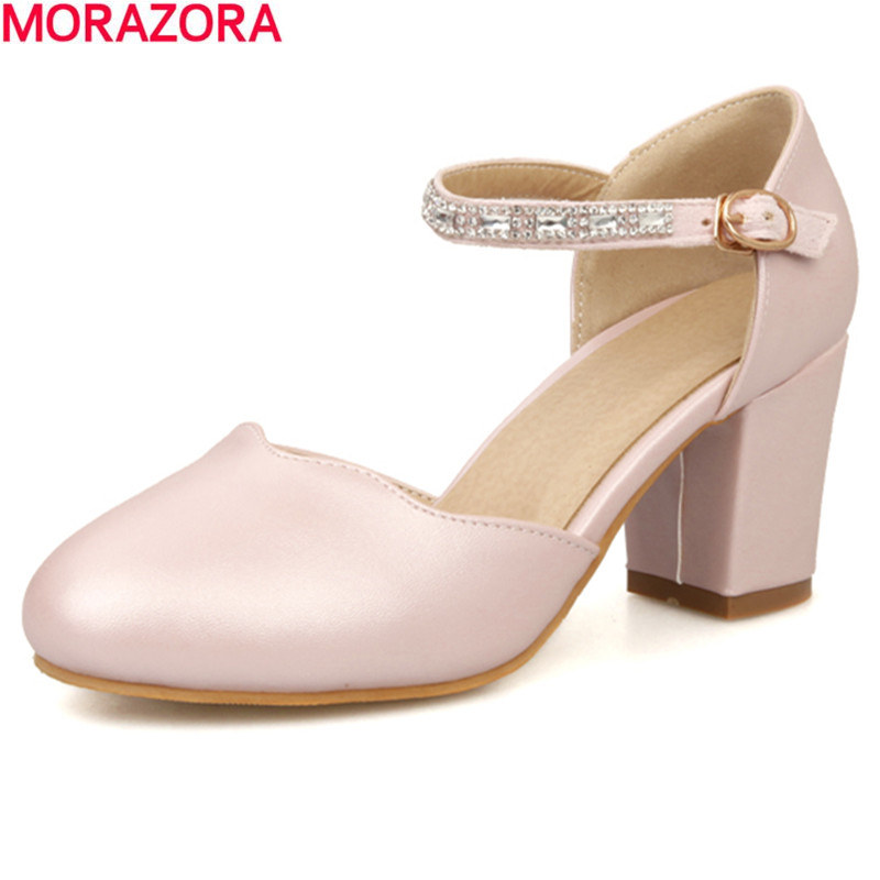 MORAZORA 2017 summer fashion solid white women sandals thick high heels round toe high quality pu leather party shoes woman women high heel shoes women slingbacks sandals genuine leather solid color black white summer fashion casual shoes round toe