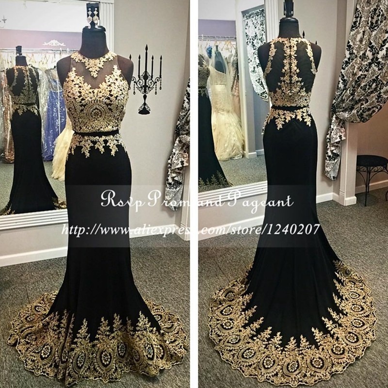 Real Photos Two Pieces Long Prom Dresses 2017 O Neck Gold Lace