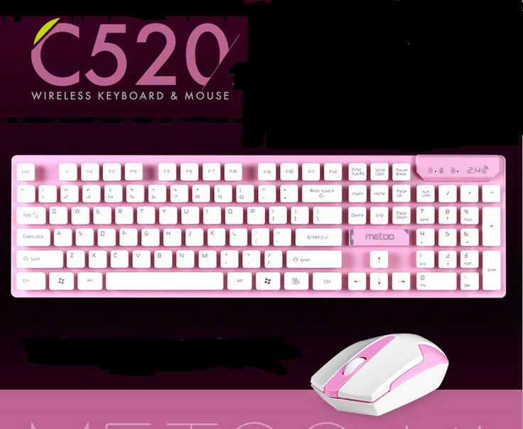 Metoo C520 Pink/Blue/Grey Wireless Gaming Keyboard+Mouse combo set office gaming For computer Laptop games wireless keyboard mouse set gaming combo bundle for computer laptop white