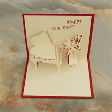 Piano happy birthday 3D pop up paper laser cut greeting cards baby shower birthday souvenirs wishes customized invitations
