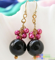 HOT SELL free shippinbg 12149 ROSE RED RICE PEARL AGATE BEAD DANGLE EARRING Top quality free shipping