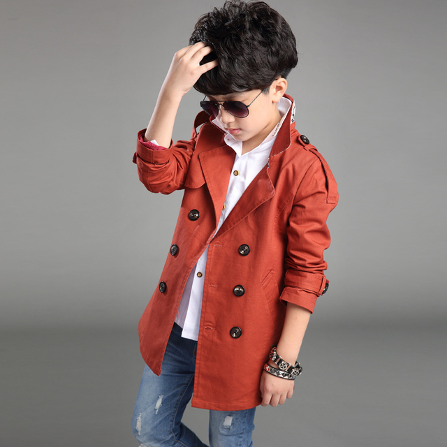 V-Neck Casual Windproof Baby Boys Coats Trench Spring Warm Teens Outwear Windbreaker High Quality Children Overcoats Clothes