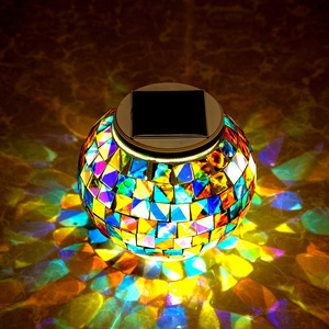 Solar Powered Mosaic Glass Ball Garden Lights Waterproof Outdoor Solar Lawn Light Colorful Changing Yard Balcony Lamps