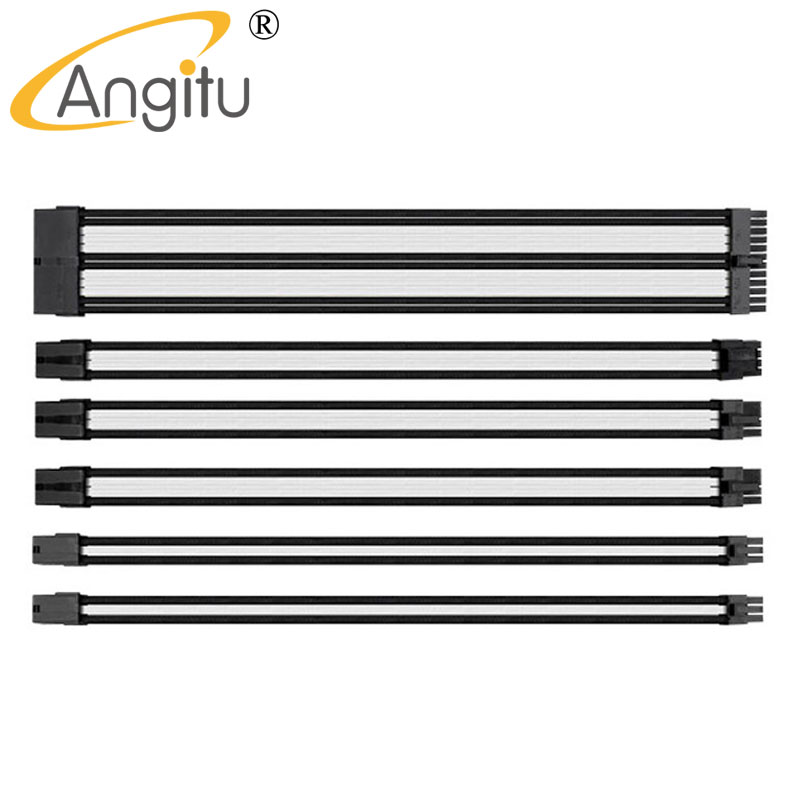 Angitu 45cm UL 1007 18AWG Multicolor Sleeved Power Extension Cable Set 24Pin/8Pin/6Pin