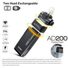 Godox New 2.4 TTL 1/8000s Double Head AD200 Pocket Flash With 2900mAh Battery