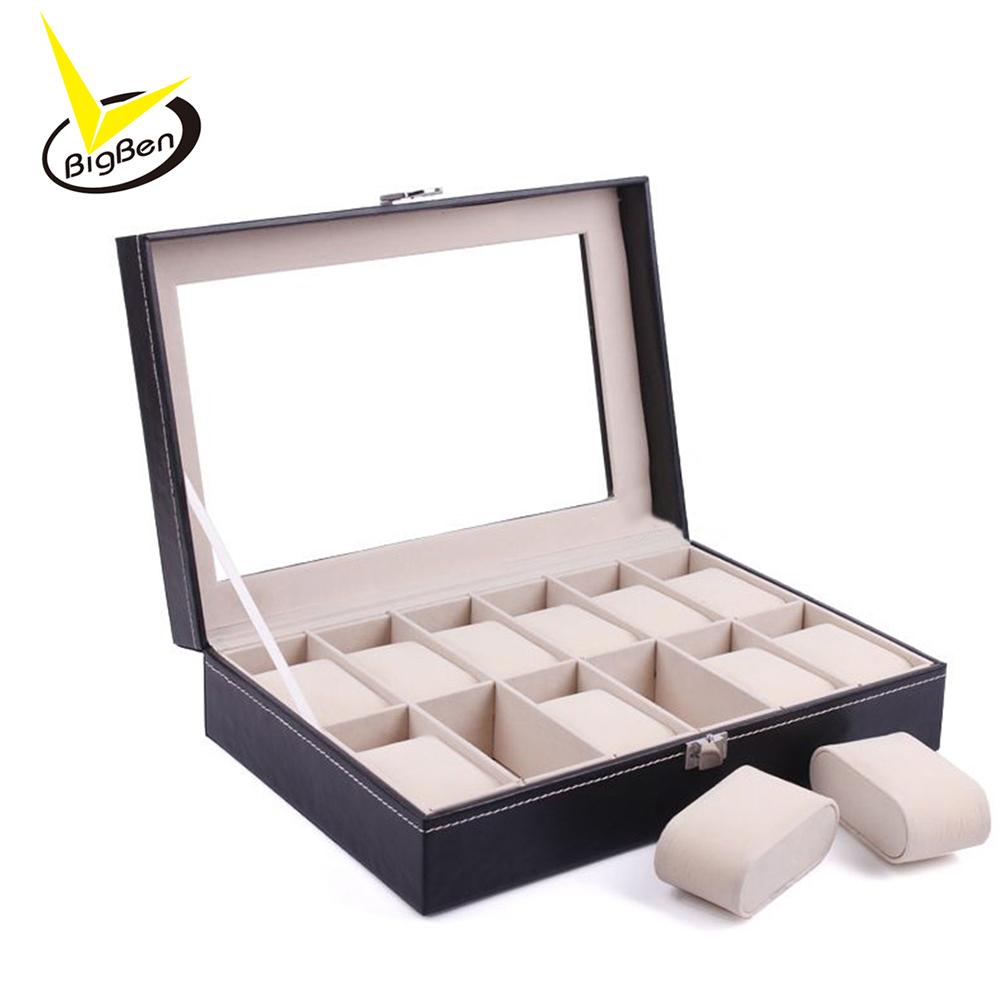 Prix pour Nouveau Luxe 12 Grille de Montre En Cuir Boîte à Bijoux Affichage Collection Cas Montre Organisateur De Stockage Box Holder reloj caixa relogio