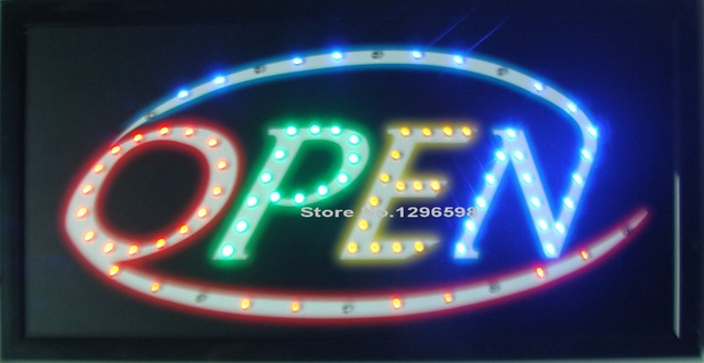 2017 LED Open Sign Bright Flashing Window Hanging Display Neon Light Shop 48x25cm for Business Free Shipping