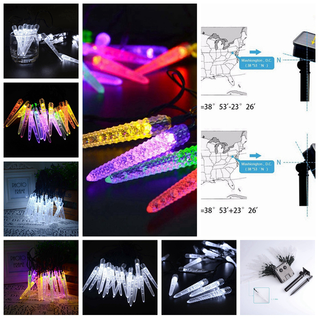 4.8M 20 LED Icicle String Light Solar Powered LED Christmas Lights Waterproof Fairy Light Lamp For Outdoor Gardens Homes Wedding