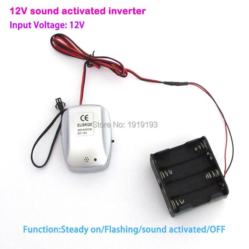 Newest DC12V Sound Activated EL wire Inverter EL driver for 6meters long el wire or el strips For Car Dance Festival decoration bs968 el