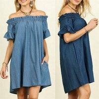 Neue Stil Plus Größe Frauen Der Schulter Bardot Denim Look Hemd Kleid Tops Sexy Mode Heiße Verkäufe Kleider Wolovey #30