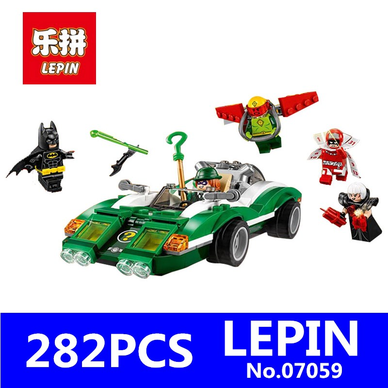 New Genuine Batman Movie Series LEPIN 07059 282Pcs The Riddler Riddle Racer Set 70903 Building Blocks Bricks Education Toys Gift