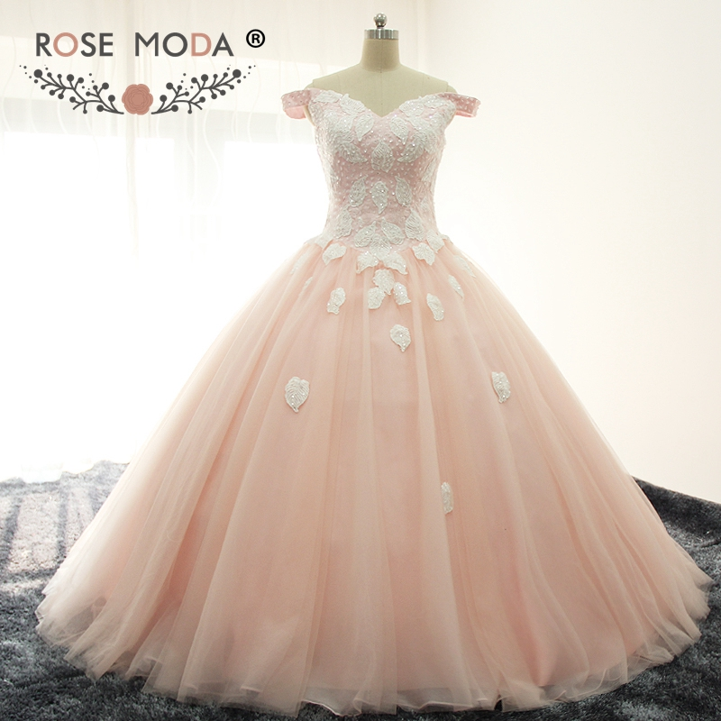 Rose Moda Off Shoulder V Neck Blush Pink Peach Puffy Quinceanera Dresses Bling Formal Party Dress Ball Skirt