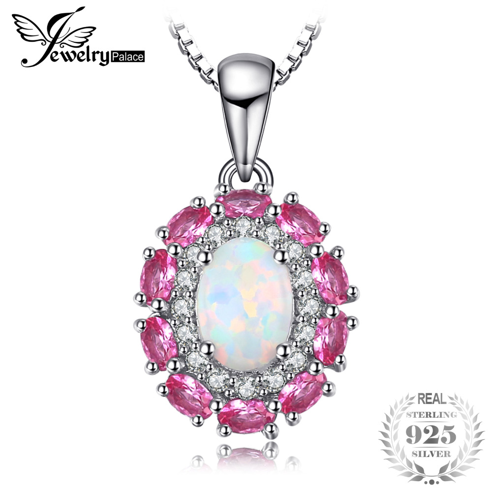 JewelryPalace 0.9ct Created Opal Pink Sapphire Pendant 925 Sterling Silver Pendants Necklaces Wedding Jewelry Without ChainJewelryPalace 0.9ct Created Opal Pink Sapphire Pendant 925 Sterling Silver Pendants Necklaces Wedding Jewelry Without Chain