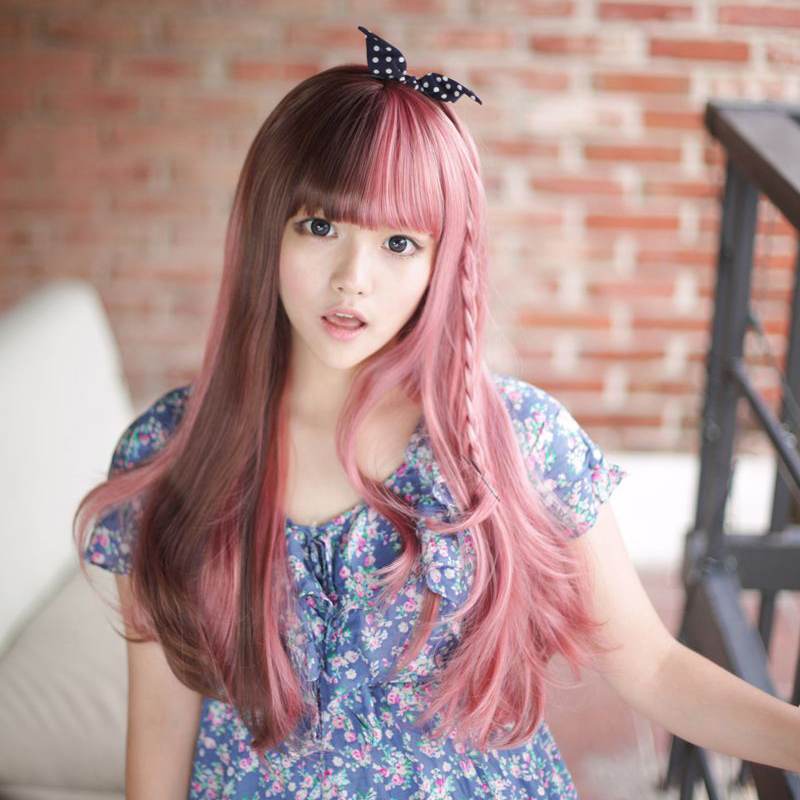 Wig Double Color Block Decoration Long Straight Hair Fluffy Powder