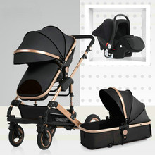 Baby carriage high landscape can sit and fold two-way four-wheel shock absorber winter trolley stroller baby stroller 3 in 1(China)