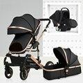 Carro de bebé alto paisaje puede sentarse y doblar dos vías cuatro ruedas amortiguador carrito de invierno cochecito de bebé cochecito 3 en 1