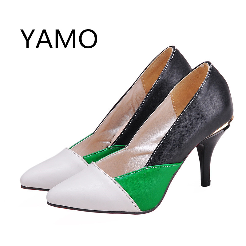 цены  New 2017 Women Pumps Pointed Toe Women Prom Shoes High Heels Green Stilettos Sexy Women's Shoes Large size 34-44