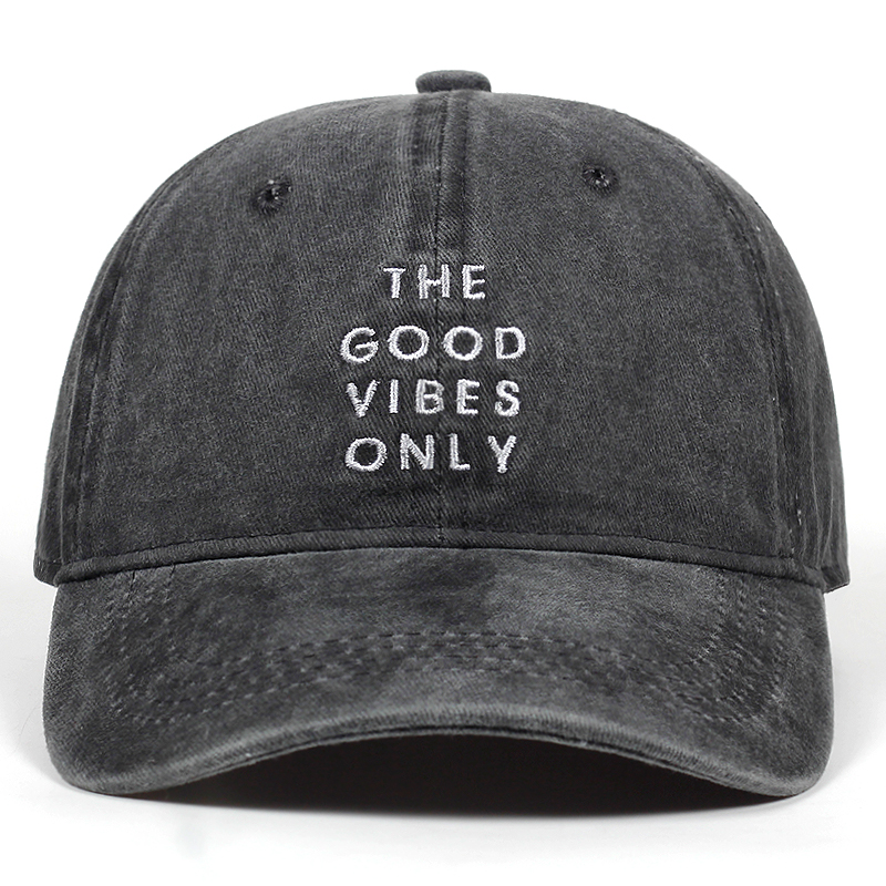 Unisex Fashion Dad Hat The Good Vibes Only Emberoidery Baseball Cap 5 Colors Available Good Quality Snapback Hats Brand Hat Caps