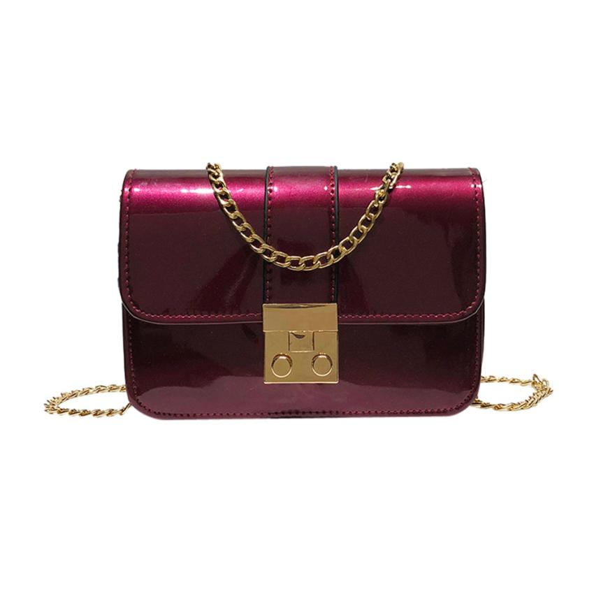 Для женщин Мода Искусственная кожа лакированная кожа флип диагональ мешок Сумка Женская сплошной цвет пряжки небольшой площади сумка # F
