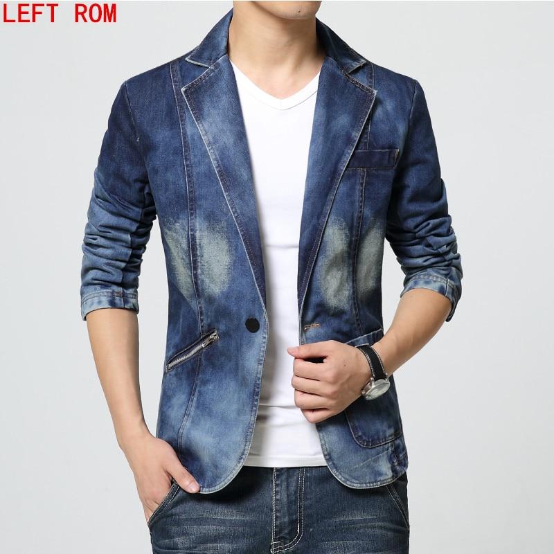 HOT 2017 New Spring Fashion Brand Men Blazer Trend Jeans Suits Casual Suit Jean Jacket Slim Fit Denim