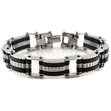 316L Stainless Steel Chain Bracelets for Men Woman Silicone Men Charm Bracelet Cuff Bangle Wristband Biker Jewelry Best Gifts цены онлайн