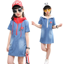 Hot summer 2017 children 4-13 years old cowboy dress hooded bottom dress printing letters rose zipper dress in vain girls dress