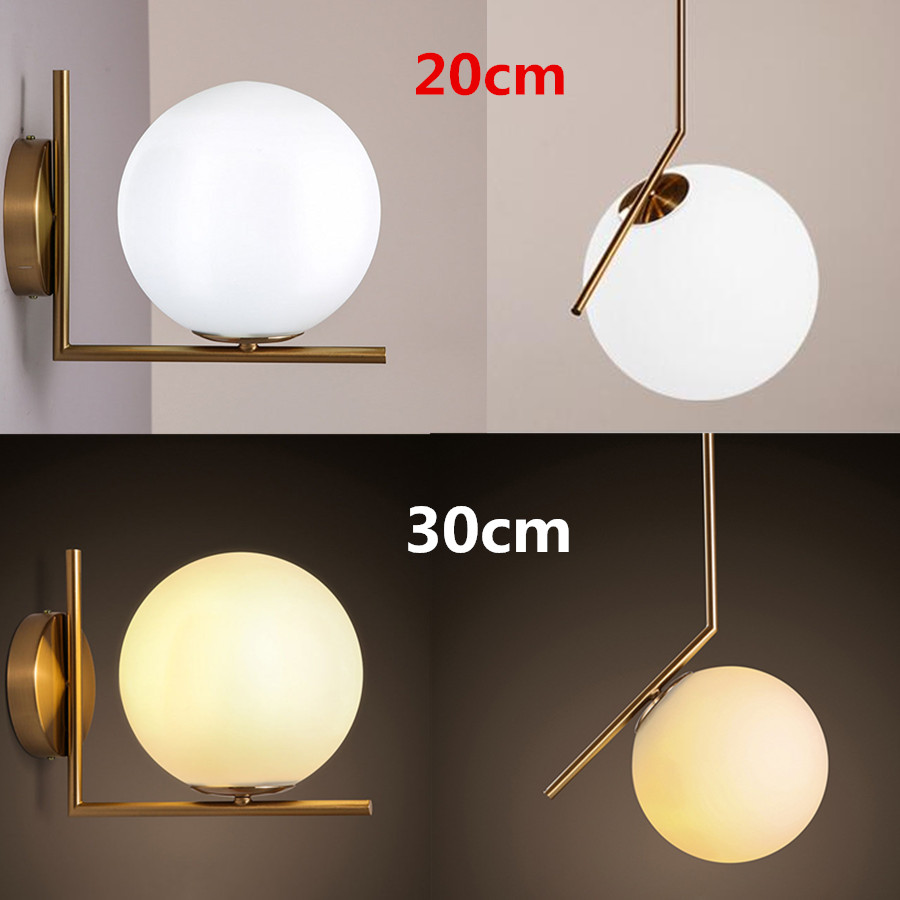 Modern Nordic Acrylic Round Glass Ball Wall Lamp LED Mounted Light Indoor Home Lighting Fixtures for Living Room Restaurant black and white round lamp modern led light remote control dimmer ceiling lighting home fixtures