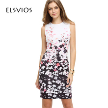 2017 New Summer Style Bodycon Dresses Vintage Ladies Sexy Floral Print Sleeveless O Neck Elegant Women Dress