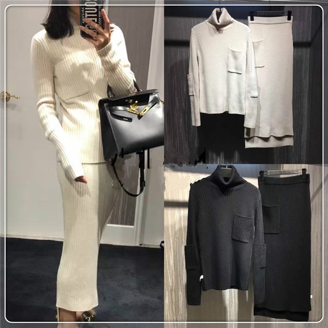 Crop Top And Skirt Set Sale Real Full Pockets 2016 High-end Custom Designer A And Turtleneck Wool Sweater + Skirt Suit Fashion