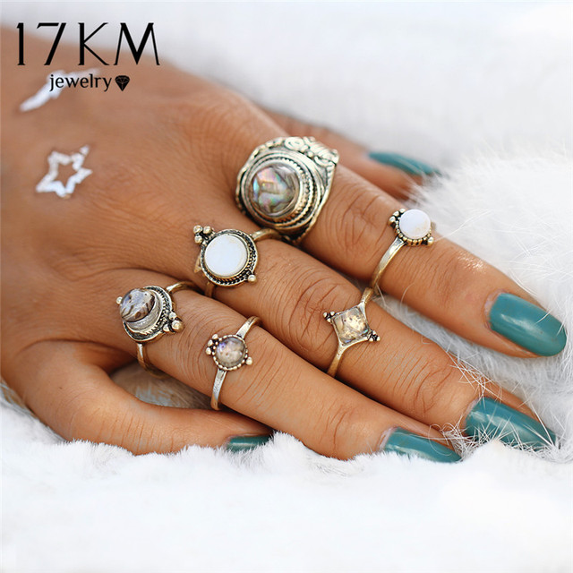 17KM Vintage Opal Rings Big Stone Ring Set For Women Antique Gold Color Midi Knuckle Party Gifts Statement Jewellery 6PCS/Set
