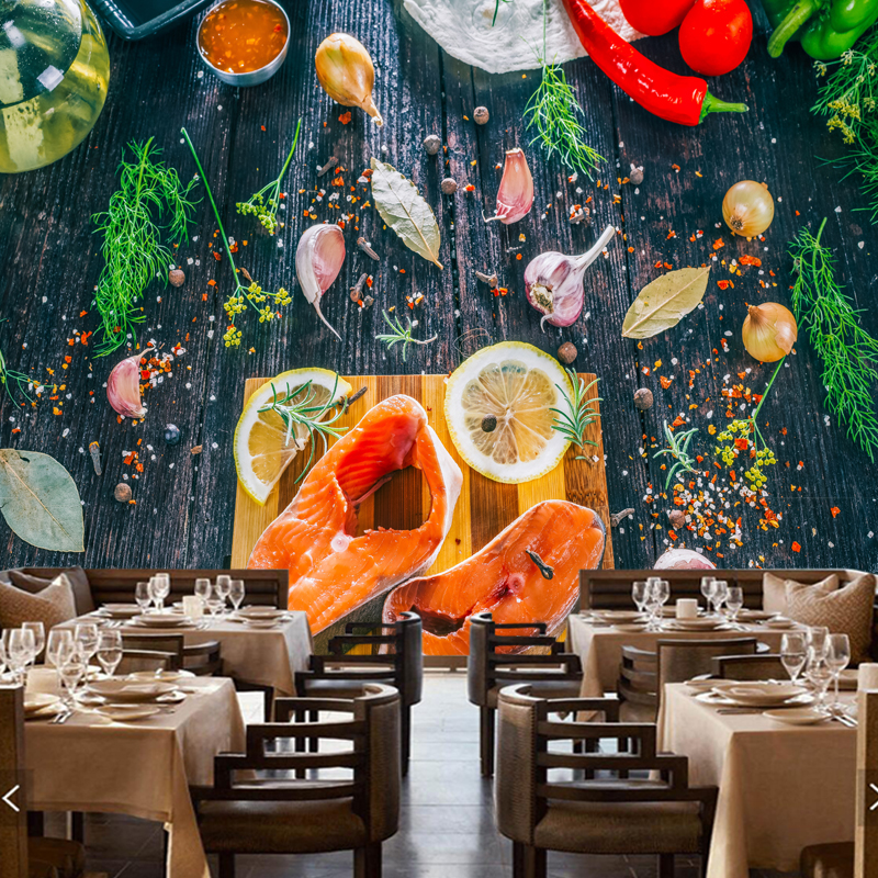 Large restaurant cafe mural,Fresh salmon rafts,3D photo wallpaper for the living room sofa kitchen wall PVC papel de parede papel de parede roses closeup flowers photo wallpaper living room tv background sofa wall bedroom restaurant bar 3d mural