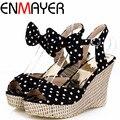 ENMAYER Sweet Polka Dot Shoes Women  New High Heels  Platform Summer Shoes Gladiator Ankle Straps Women Sandals Wedges Bohemia