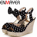 Enmayer сладкий горошек обувь женщины нью-высокие каблуки платформы летняя обувь гладиатор лодыжки ремни сандалий женщин клинья чехии