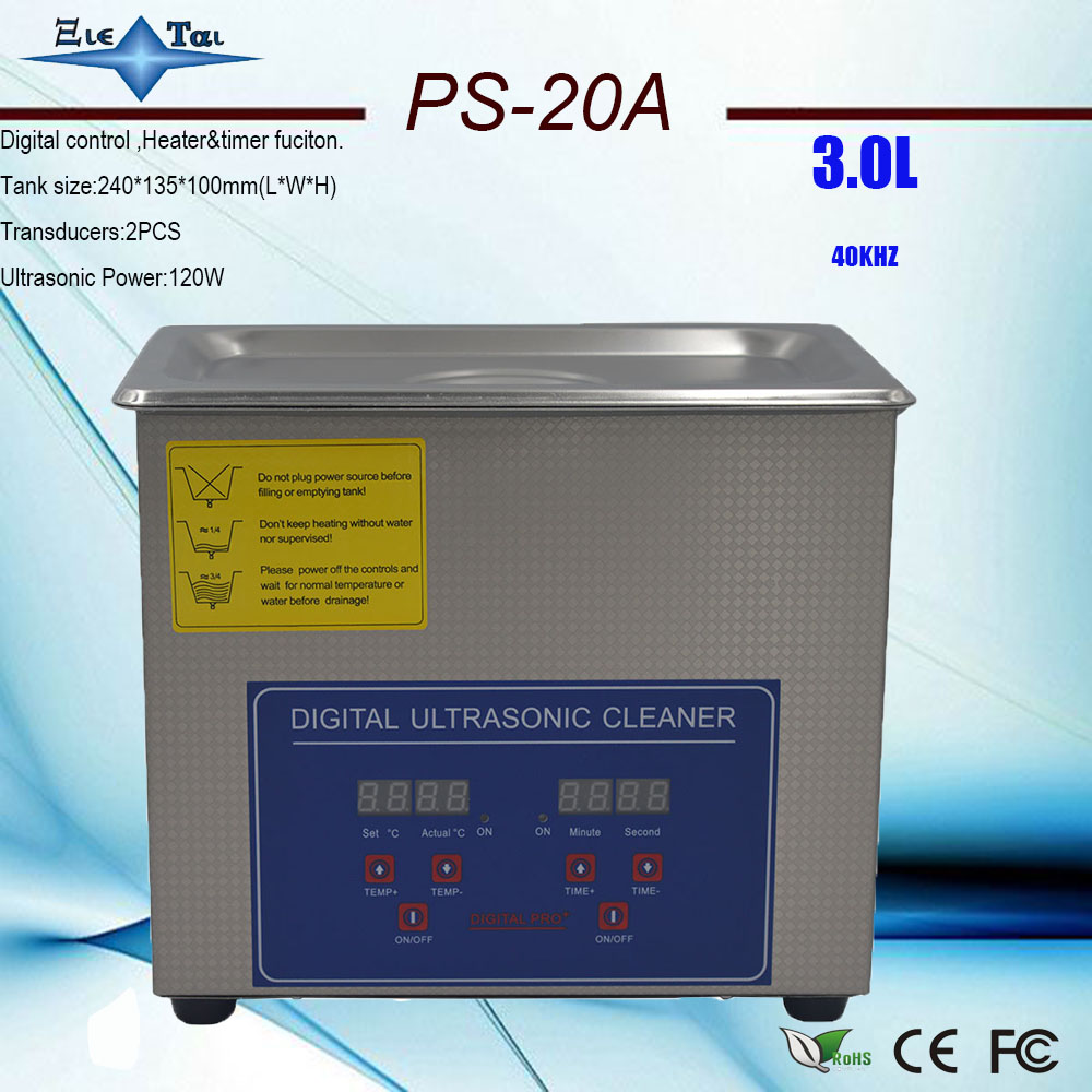 Local free shippiing Jietai PS 20A AC110V 220V digital timer heated ultrasonic cleaner 3L 40KHz with