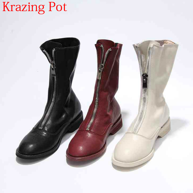 2019 Superstar Genuine Leather Brand Winter Shoes Women Motorcycle Boots Zipper Round Toe Runway Keep Warm Mid-calf Boots L18