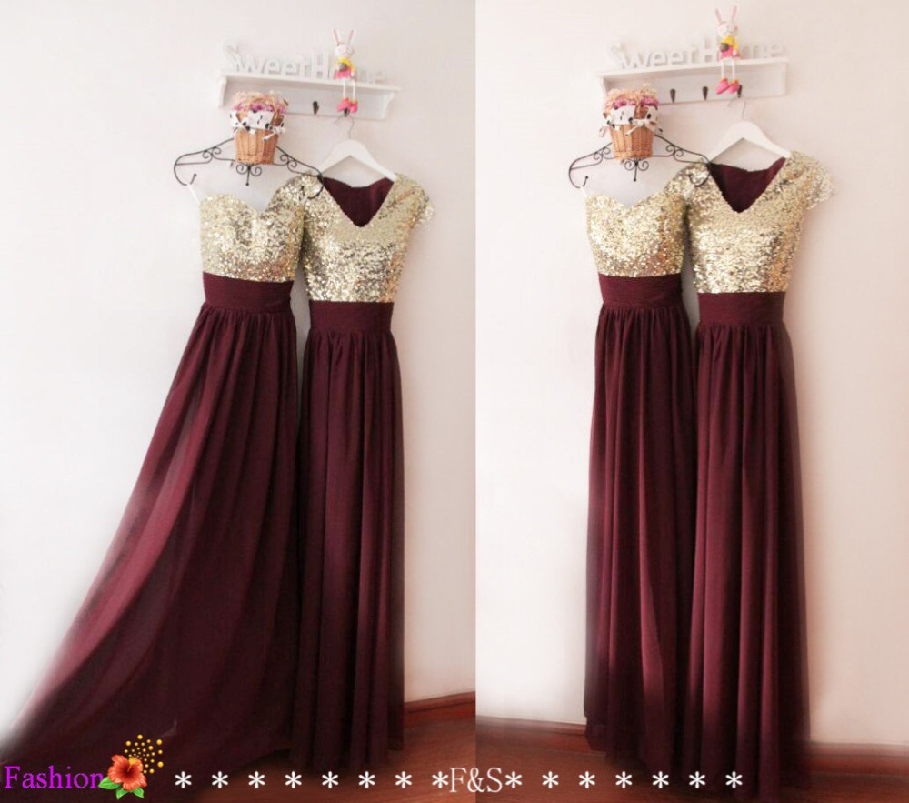 Aliexpress buy burgundy chiffon gold lace sequined cap aliexpress buy burgundy chiffon gold lace sequined cap sleeves v neck floor length bridesmaid dresses long maid of honor dress from reliable maid of ombrellifo Gallery